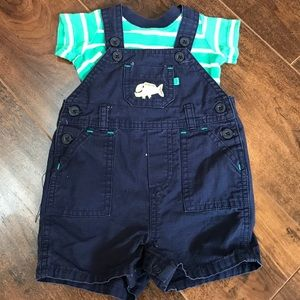 Carter's boys 3 mos overall shorts navy teal